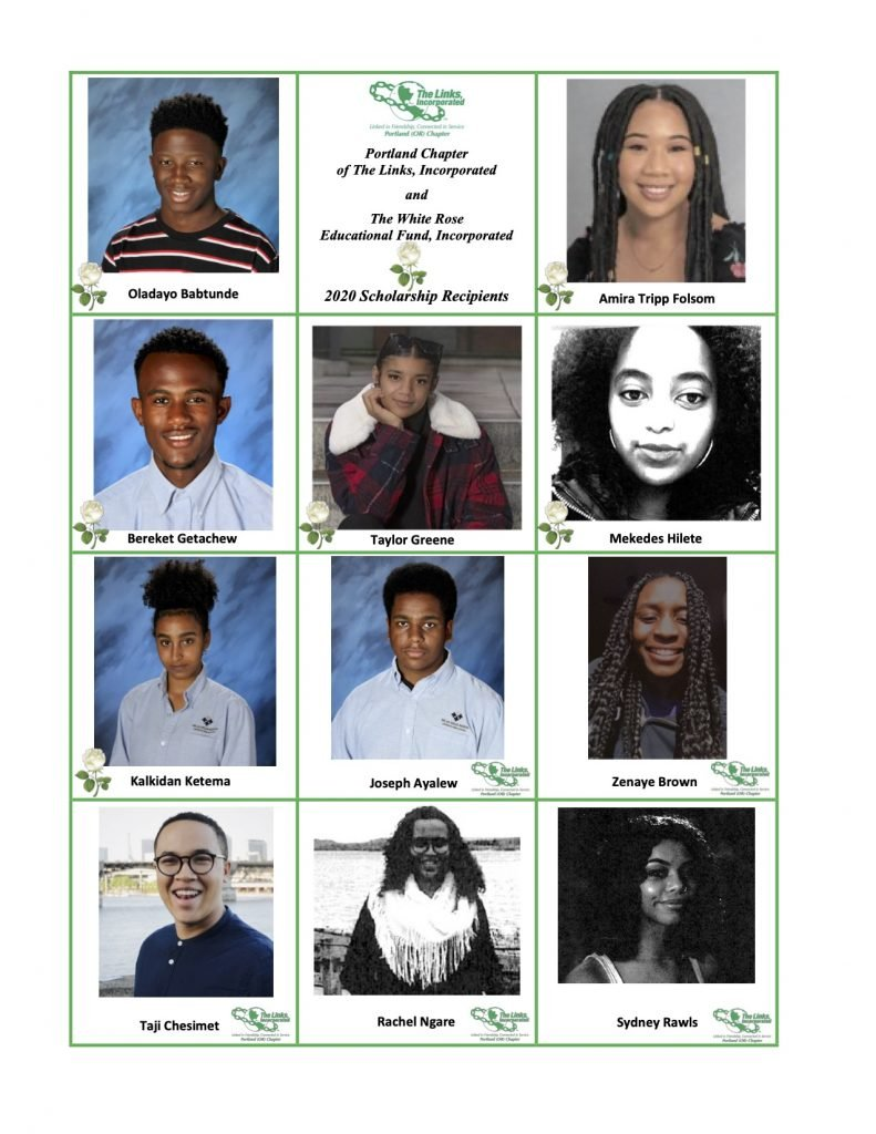 2020 Portland Chapter of the Links, Incorporated Scholarship Recipients