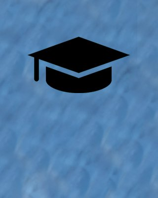 black graduation cap on blue background